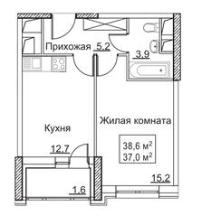 ЖК «Рассказово», планировка 1-комнатной квартиры, 38.60 м²