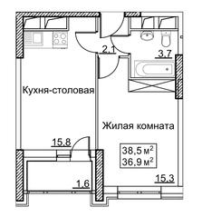 ЖК «Рассказово», планировка 1-комнатной квартиры, 38.50 м²