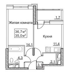 ЖК «Рассказово», планировка 1-комнатной квартиры, 36.70 м²
