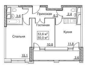 ЖК «Рассказово», планировка 2-комнатной квартиры, 53.60 м²