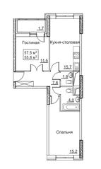ЖК «Рассказово», планировка 2-комнатной квартиры, 57.50 м²
