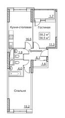 ЖК «Рассказово», планировка 2-комнатной квартиры, 58.20 м²