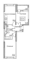 ЖК «Рассказово», планировка 2-комнатной квартиры, 56.00 м²