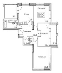 ЖК «Рассказово», планировка 3-комнатной квартиры, 87.00 м²