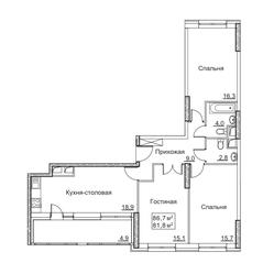 ЖК «Рассказово», планировка 3-комнатной квартиры, 86.70 м²