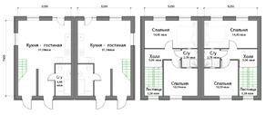 КП «Новая Ижора», планировка 2-комнатной квартиры, 77.20 м²