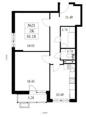 ЖК «Дом на Барвихинской», планировка 2-комнатной квартиры, 61.18 м²