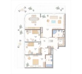 ЖК «Октавия», планировка 4-комнатной квартиры, 134.29 м²
