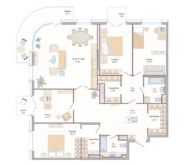 ЖК «Октавия», планировка 4-комнатной квартиры, 163.53 м²