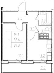 ЖК «Нева Сити» (Кировск), планировка 1-комнатной квартиры, 39.30 м²