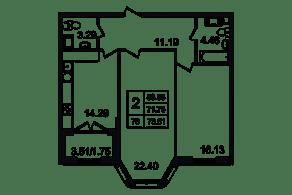 ЖК «Grand House», планировка 2-комнатной квартиры, 73.51 м²