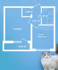 ЖК «Кировский Посад», планировка 1-комнатной квартиры, 30.65 м²