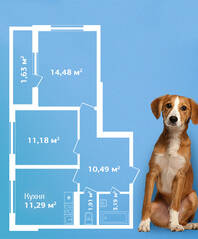 ЖК «Кировский Посад», планировка 2-комнатной квартиры, 54.17 м²