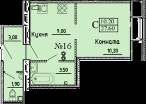 МЖК «Дворянское сословие», планировка 1-комнатной квартиры, 27.60 м²