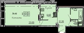 МЖК «Дворянское сословие», планировка 1-комнатной квартиры, 47.90 м²