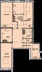 МЖК «Дворянское сословие», планировка 2-комнатной квартиры, 100.00 м²