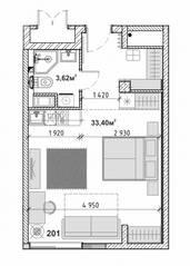 МФК «Avenue-Apart на Малом», планировка студии, 37.00 м²