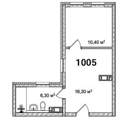 МФК «Avenue-Apart на Малом», планировка 2-комнатной квартиры, 33.00 м²