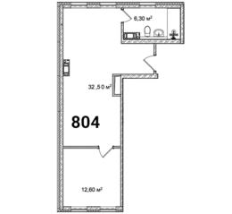 МФК «Avenue-Apart на Малом», планировка 2-комнатной квартиры, 51.40 м²