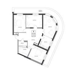 ЖК «Форсайт», планировка 4-комнатной квартиры, 113.76 м²