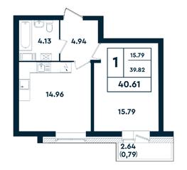 ЖК «Оазис», планировка 1-комнатной квартиры, 40.61 м²