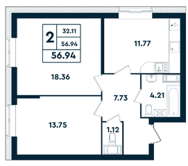 ЖК «Оазис», планировка 2-комнатной квартиры, 56.94 м²