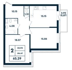 ЖК «Оазис», планировка 2-комнатной квартиры, 65.29 м²