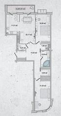 ЖК «Family Loft», планировка 2-комнатной квартиры, 108.99 м²