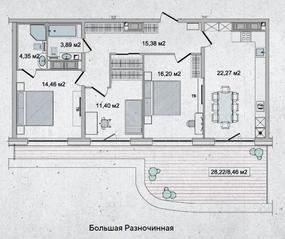 ЖК «Family Loft», планировка 3-комнатной квартиры, 96.42 м²
