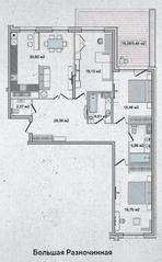 ЖК «Family Loft», планировка 3-комнатной квартиры, 129.11 м²