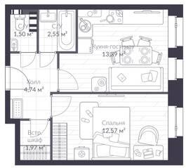 МЖК «Veren Village стрельна», планировка 1-комнатной квартиры, 36.70 м²