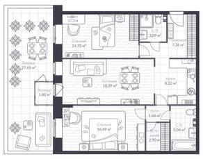 МЖК «Veren Village стрельна», планировка 2-комнатной квартиры, 88.10 м²