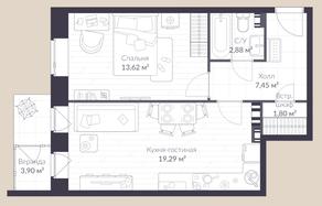 МЖК «Veren Village стрельна», планировка 1-комнатной квартиры, 48.90 м²
