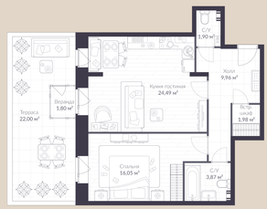 МЖК «Veren Village стрельна», планировка 1-комнатной квартиры, 66.70 м²