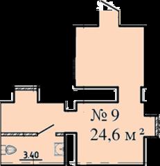 МЖК «Дворянское сословие», планировка студии, 24.60 м²