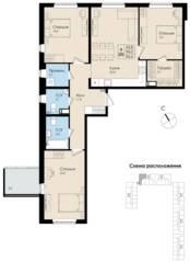 ЖК «Высший пилотаж 2», планировка 3-комнатной квартиры, 96.60 м²