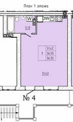 МЖК «На Героев», планировка студии, 36.65 м²