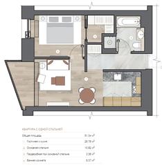 ЖК «One Trinity Place», планировка 1-комнатной квартиры, 51.34 м²