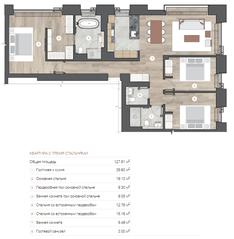 ЖК «One Trinity Place», планировка 3-комнатной квартиры, 127.61 м²
