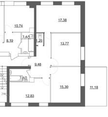 МЖК «Живи в Вырице», планировка 3-комнатной квартиры, 73.62 м²