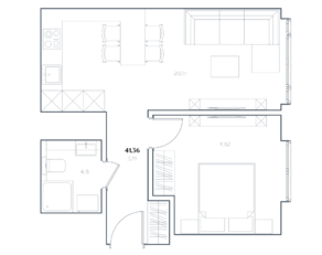 МФК «Residence Hall Шаболовский», планировка 1-комнатной квартиры, 41.36 м²