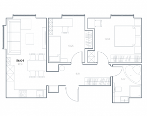 МФК «Residence Hall Шаболовский», планировка 2-комнатной квартиры, 56.04 м²