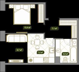 ЖК «West Garden», планировка 1-комнатной квартиры, 43.10 м²