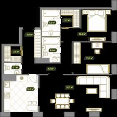 ЖК «West Garden», планировка 3-комнатной квартиры, 101.30 м²