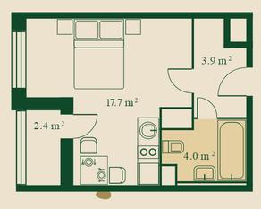 ЖК «Сказочный лес», планировка студии, 26.80 м²
