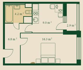 ЖК «Сказочный лес», планировка 1-комнатной квартиры, 37.70 м²