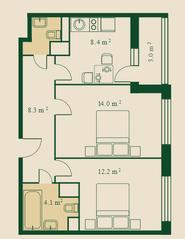ЖК «Сказочный лес», планировка 2-комнатной квартиры, 50.30 м²
