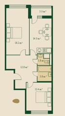 ЖК «Сказочный лес», планировка 2-комнатной квартиры, 64.90 м²