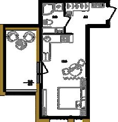 ЖК «Белый остров», планировка студии, 34.70 м²