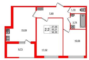 МЖК «Фортеция. Жизнь на побережье», планировка 2-комнатной квартиры, 55.21 м²